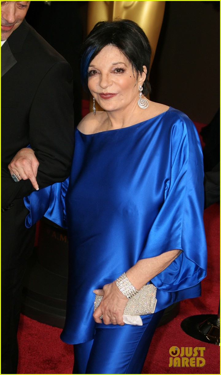 liza minnelli wears blue streak in hair at oscars 2014 093064047
