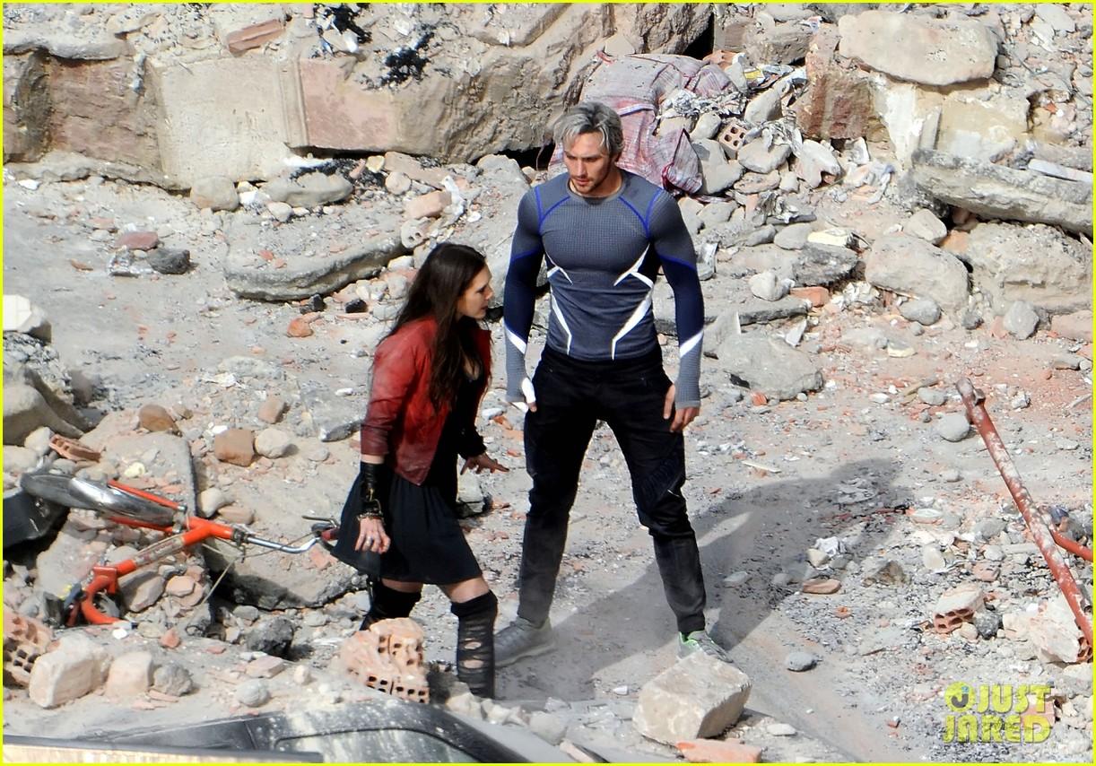 elizabeth olsen aaron taylor johnson get touched up avengers 213079062