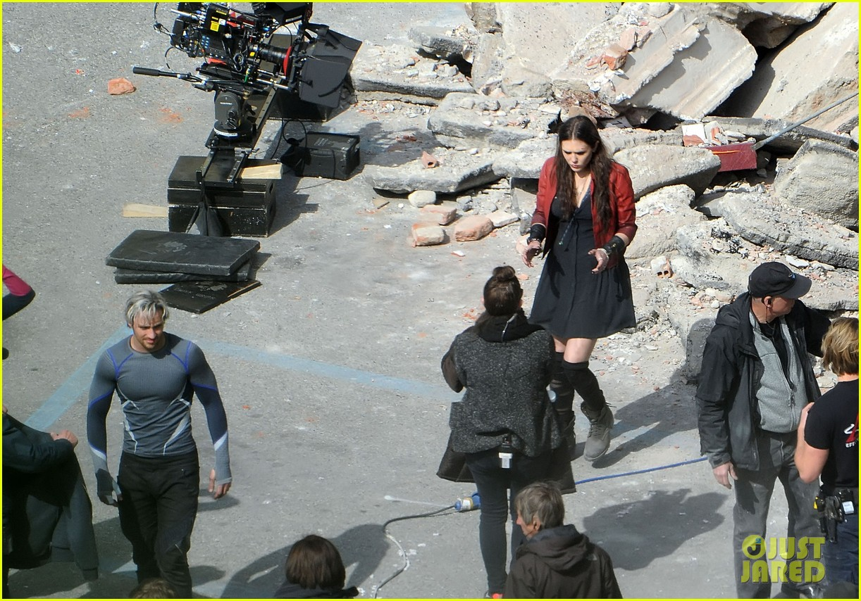 elizabeth olsen aaron taylor johnson get touched up avengers 223079063