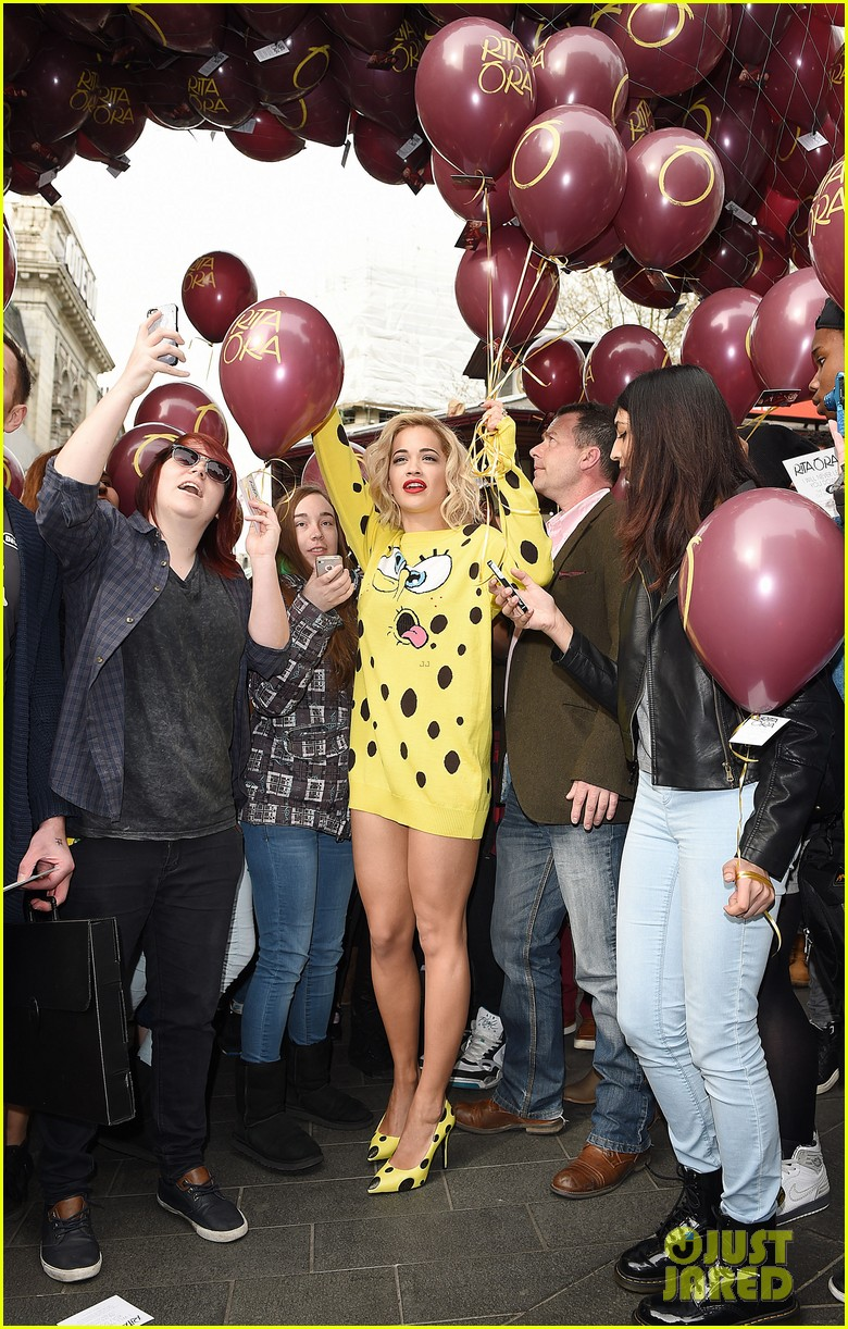 rita ora premieres i will never let you down at bbc radio in spongebob squarepants outfit 033082093