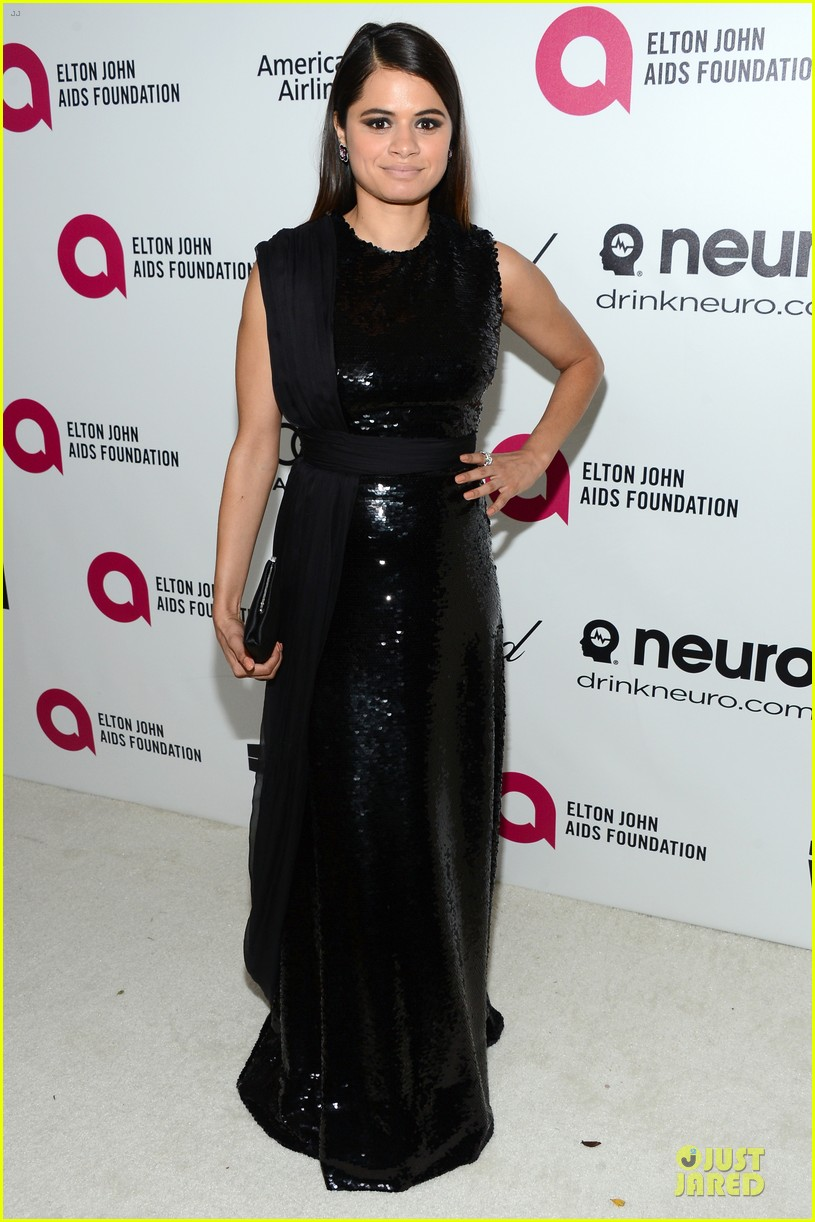 nikki reed melonie diaz rock red black at elton john oscars party 2014 033065060