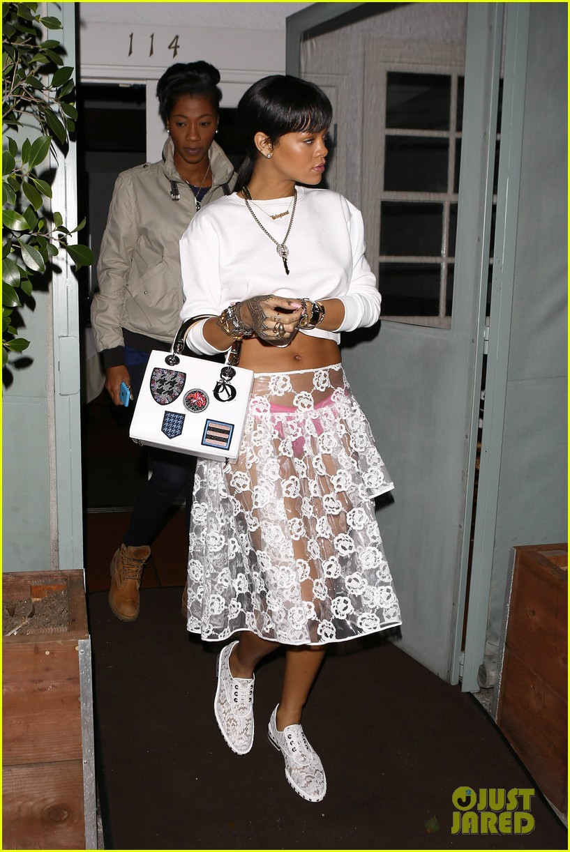 rihannas underwear is completely visible under her totally see thru skirt 103075919
