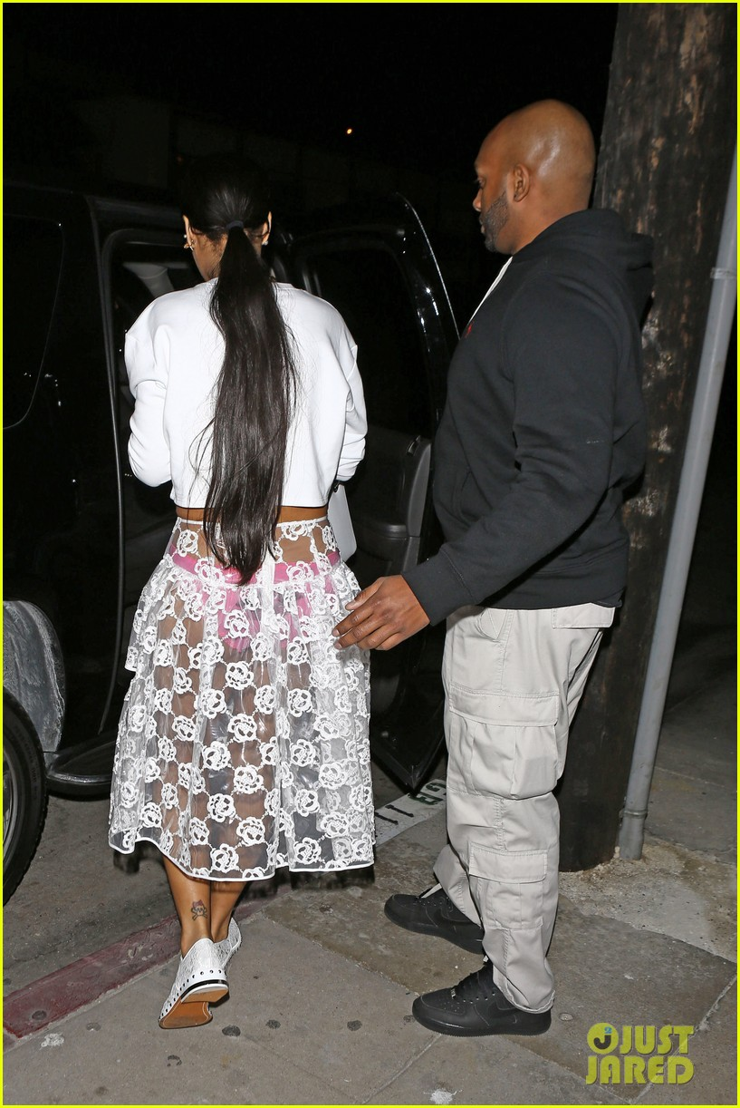 rihannas underwear is completely visible under her totally see thru skirt 163075925