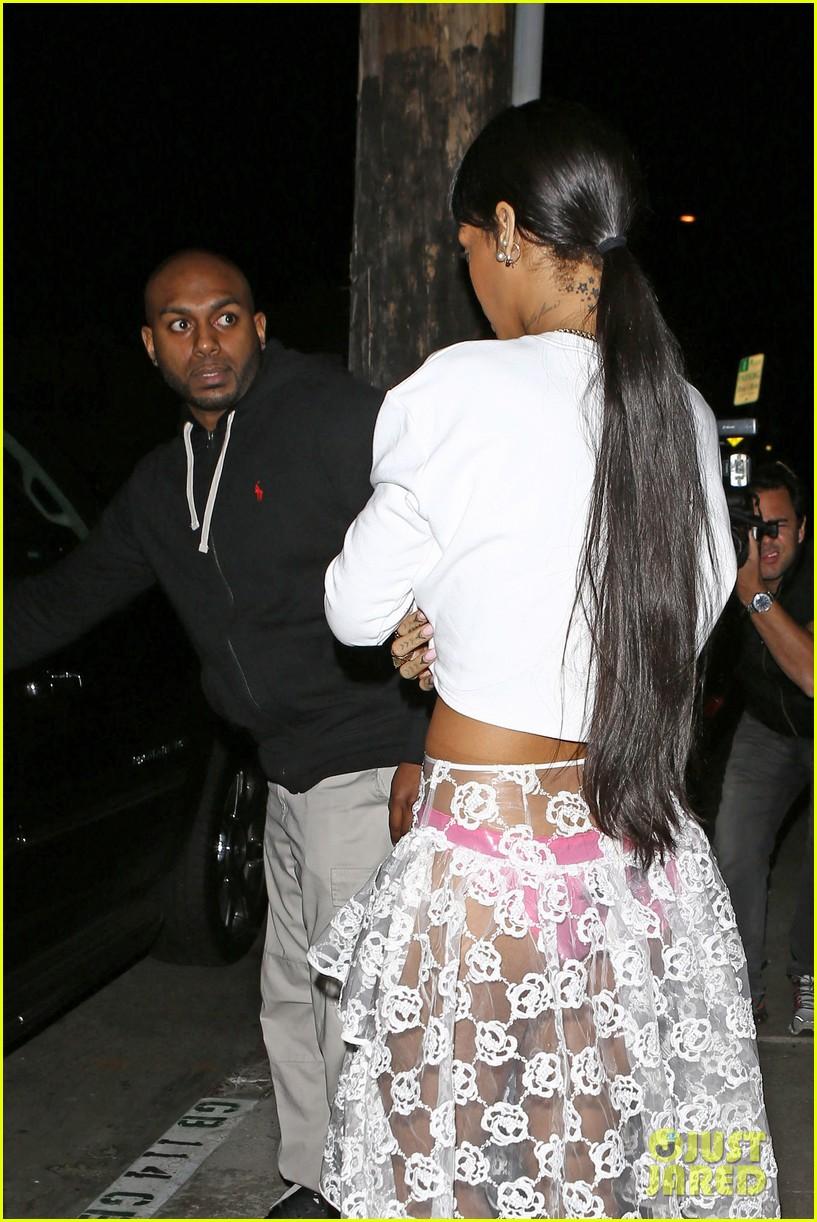 rihannas underwear is completely visible under her totally see thru skirt 173075926