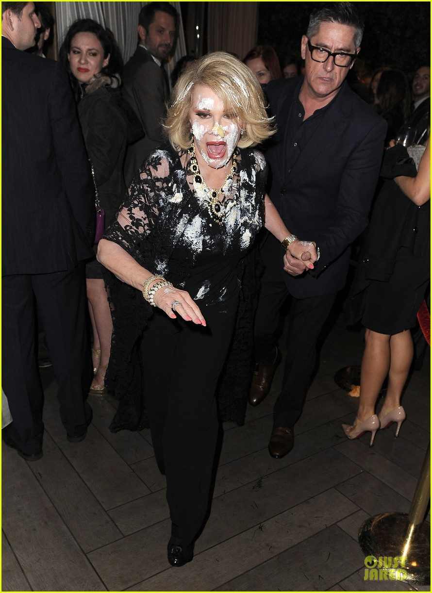 joan rivers gets attacked with cake at gvc red carpet event 013062655