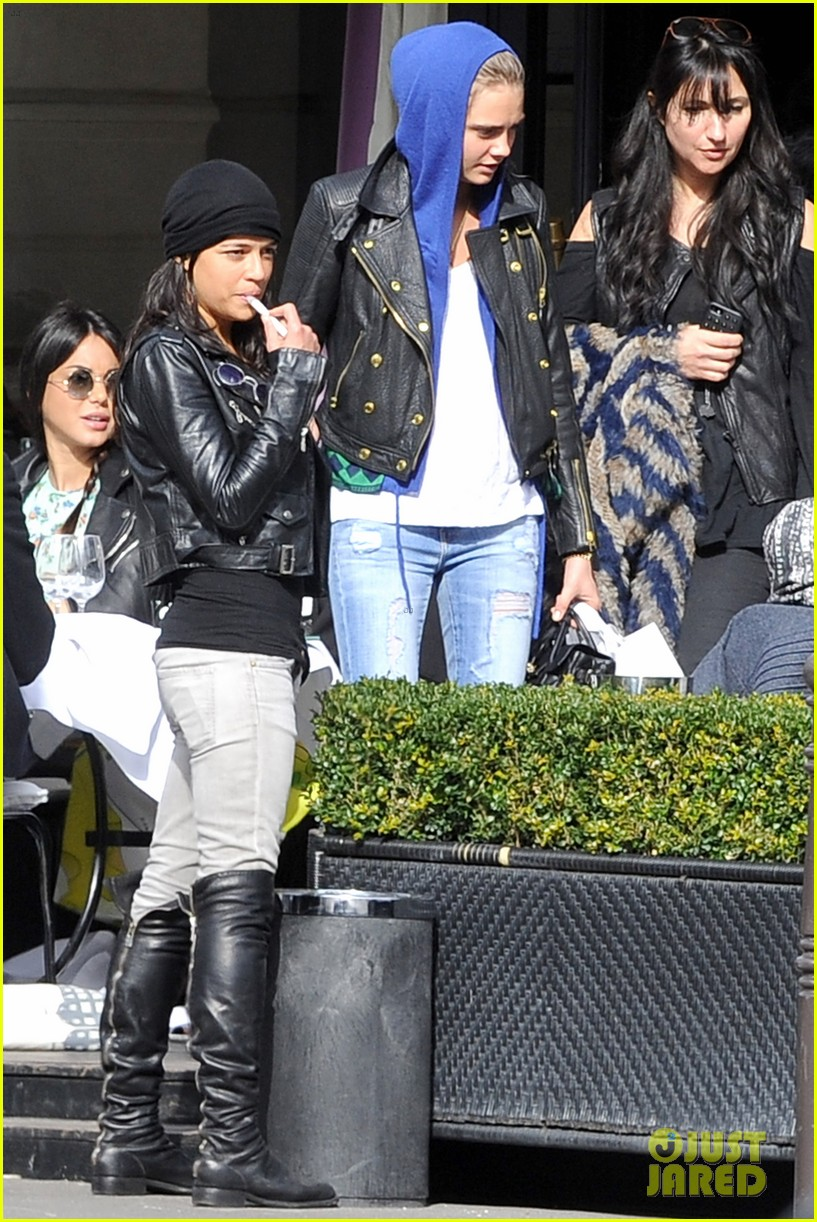 michelle rodriguez joins cara delevingne for paris fashion week fun 013065723