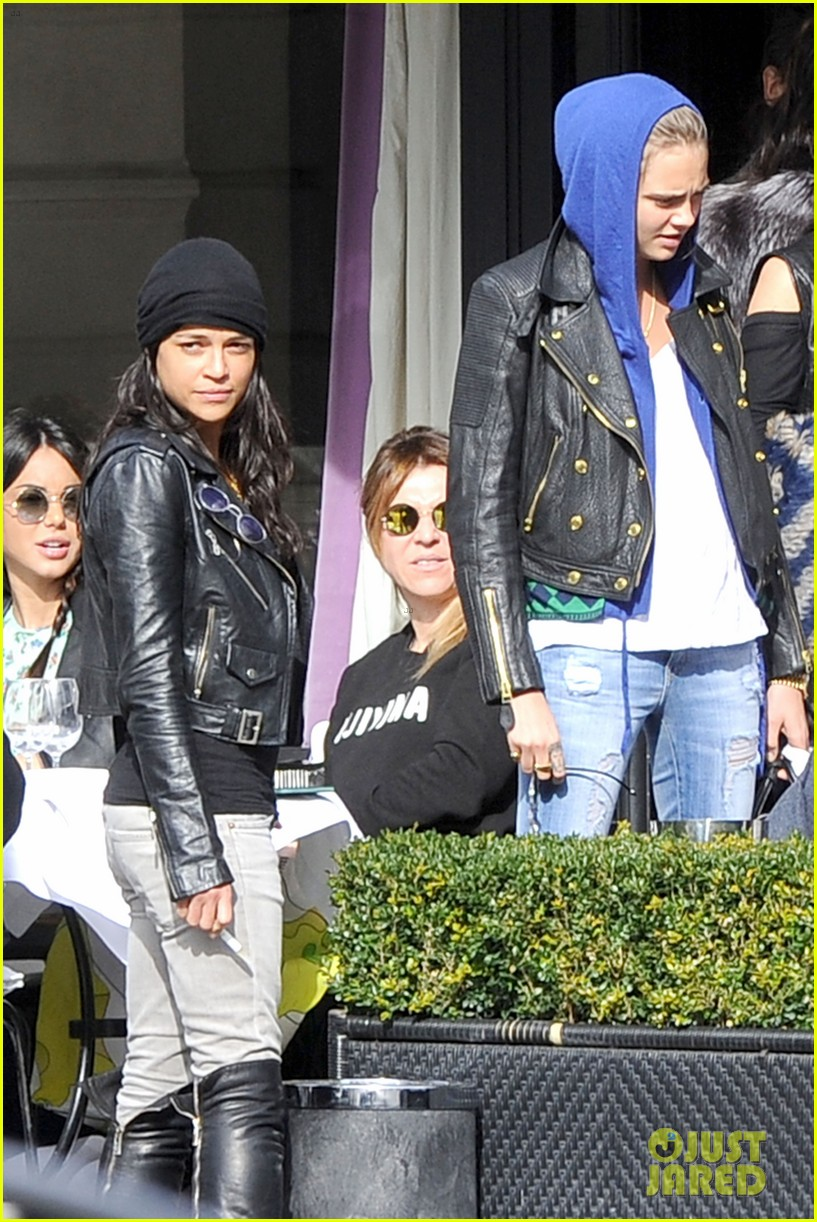 michelle rodriguez joins cara delevingne for paris fashion week fun 043065726