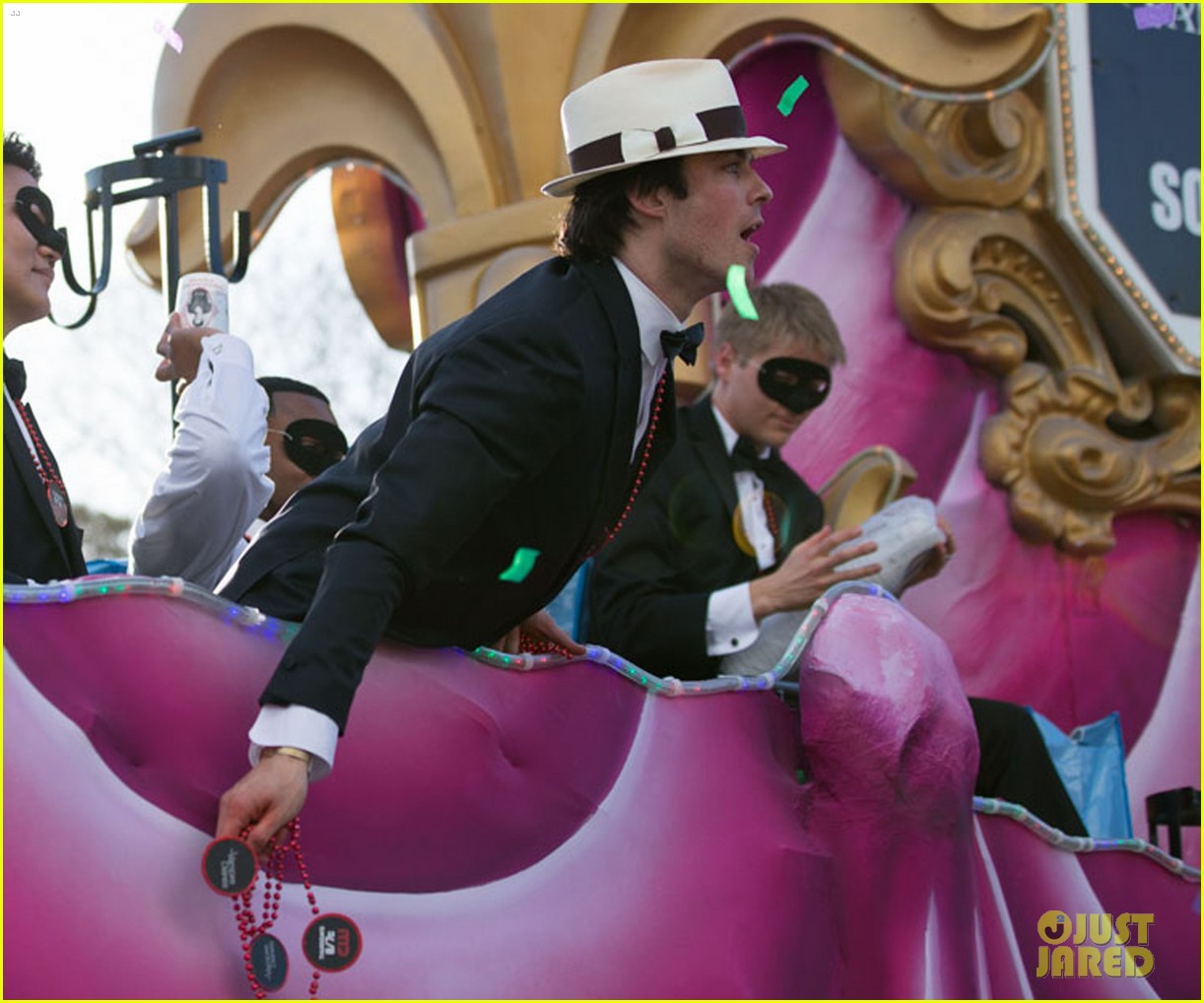 ian somerhalder norman reedus throw mardi gras beads in new orleans 143063298