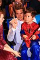 emma stone andrew garfield hang with adorable little spider man at fan event 01