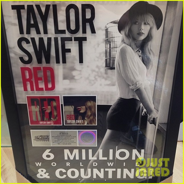 taylor swifts writing partner ed sheeran hung his red album on the wall 033067145