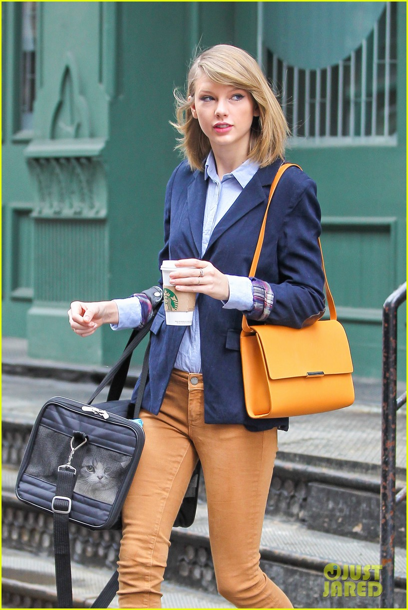 taylor swift brings her cat meredith around nyc in travel carrier 043081775