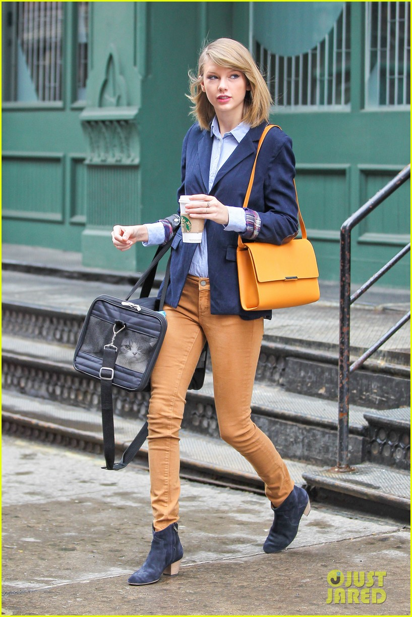 taylor swift brings her cat meredith around nyc in travel carrier 053081776
