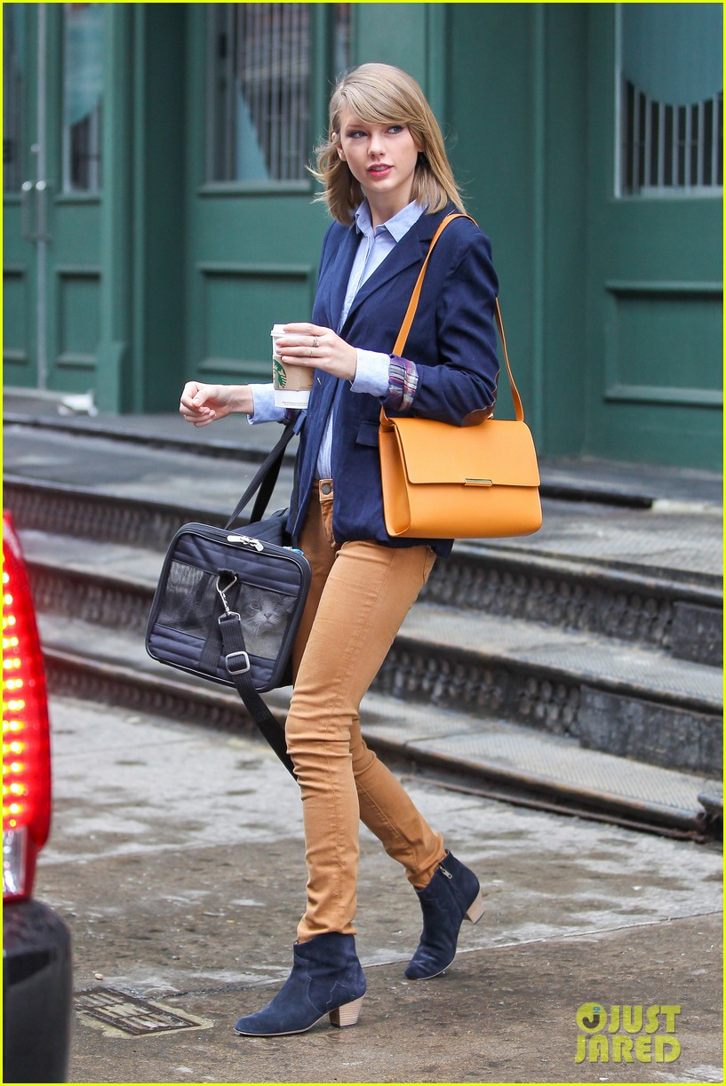 taylor swift brings her cat meredith around nyc in travel carrier 093081780