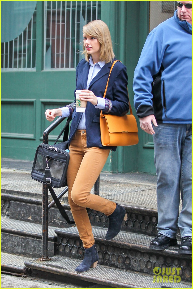taylor swift brings her cat meredith around nyc in travel carrier 103081781