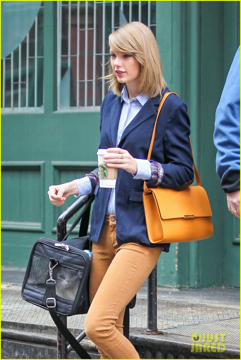 taylor swift brings her cat meredith around nyc in travel carrier 113081782