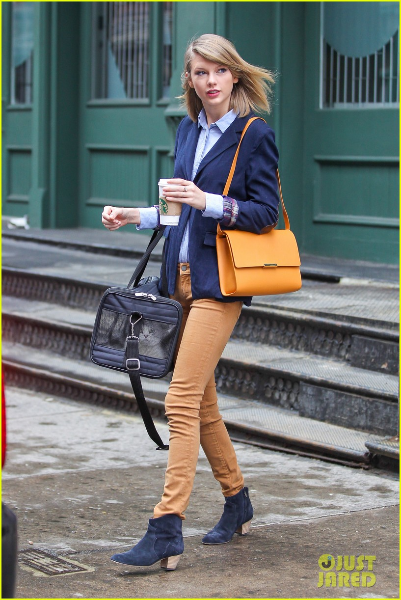 taylor swift brings her cat meredith around nyc in travel carrier 123081783