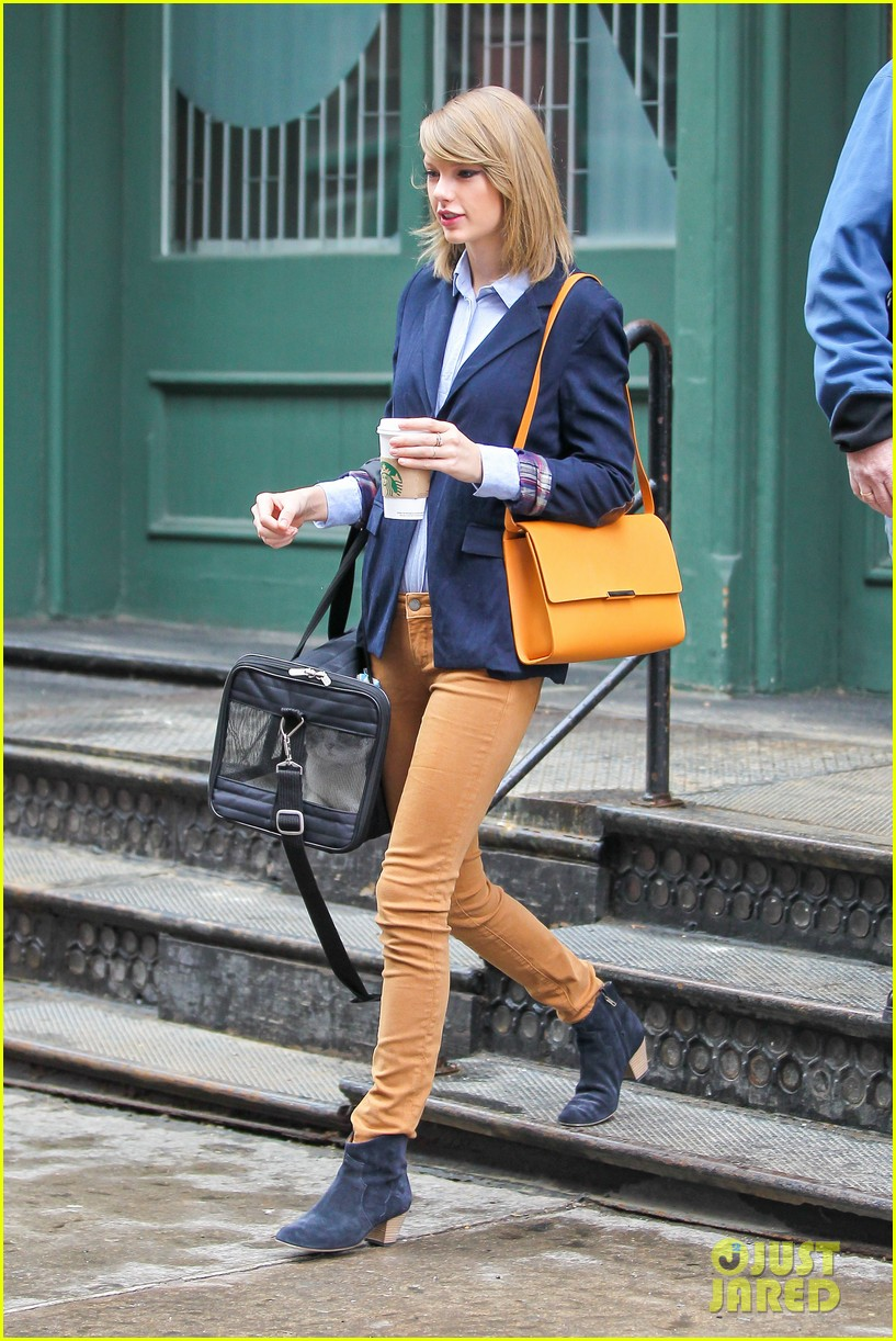 taylor swift brings her cat meredith around nyc in travel carrier 133081784