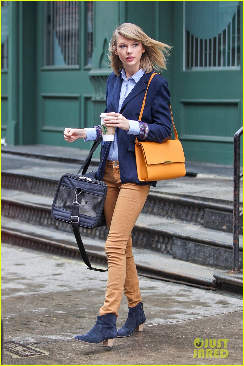 taylor swift brings her cat meredith around nyc in travel carrier 143081785