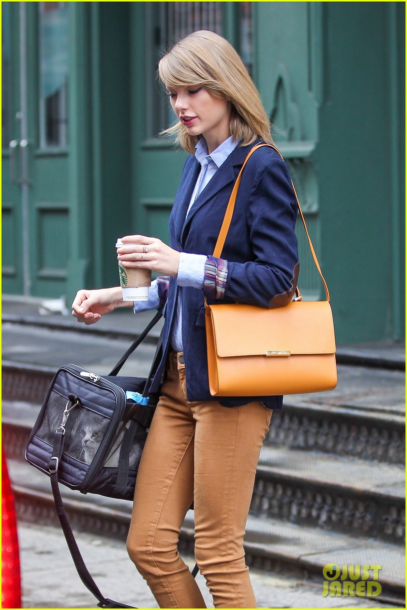 taylor swift brings her cat meredith around nyc in travel carrier 153081786