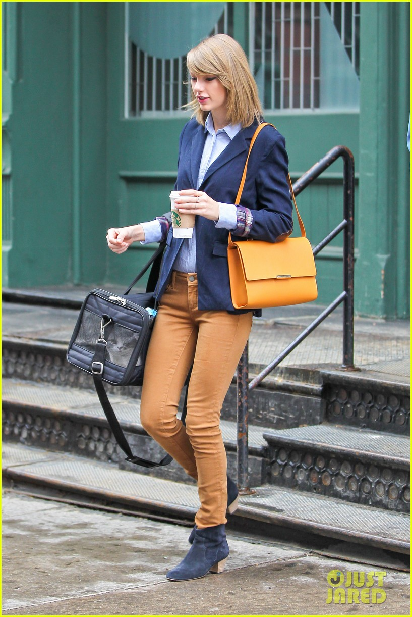 taylor swift brings her cat meredith around nyc in travel carrier 163081787