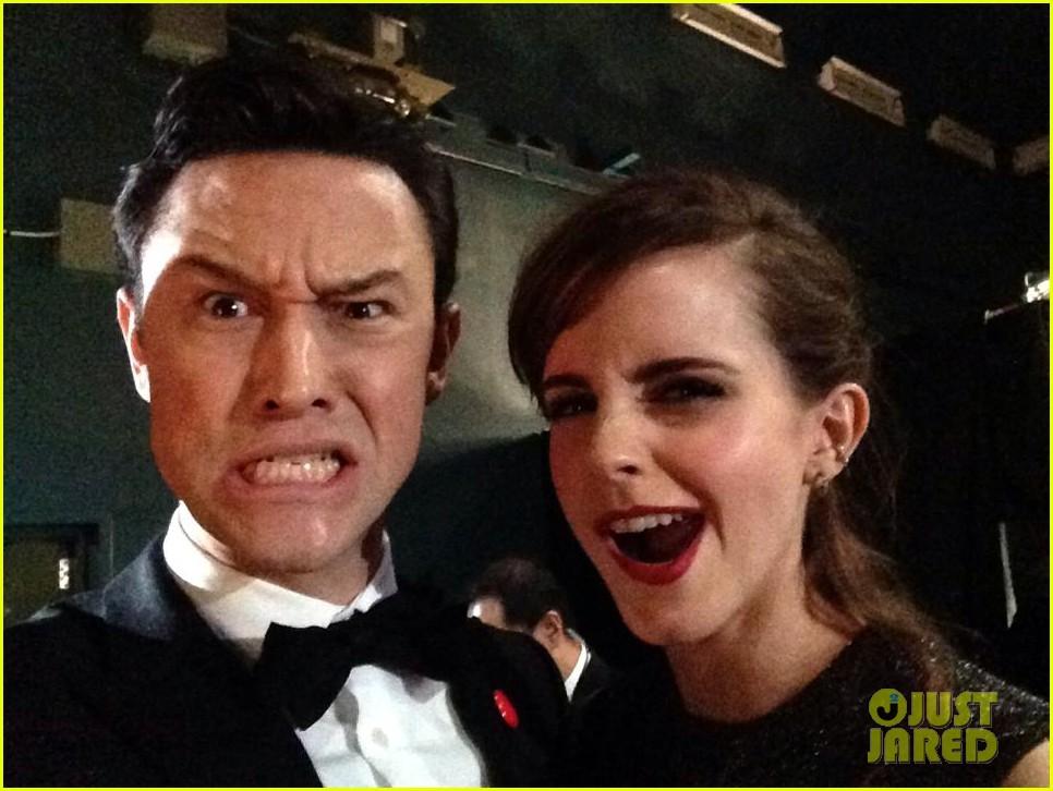 emma watson joseph gordon levitt shares funny oscars selfie 013066400