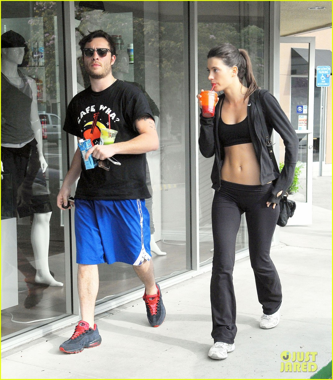 ed westwick hits the gym with mystery gal with hot body 033070703