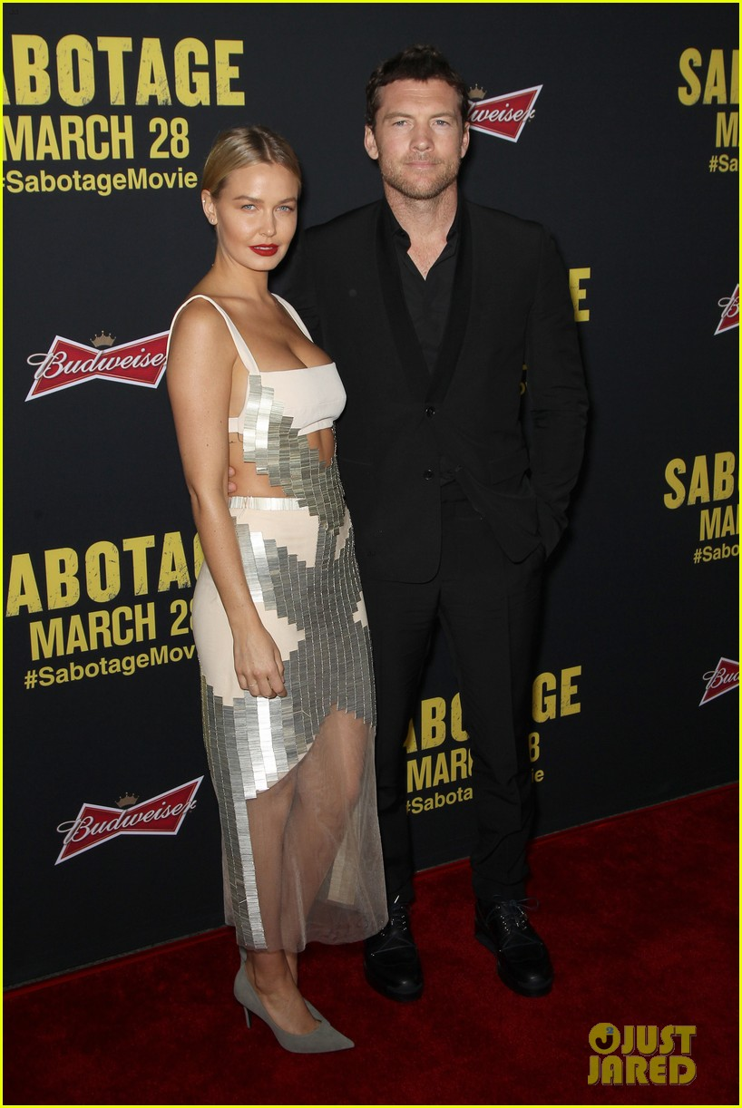 sam worthington lara bingle sabotage premiere 033075151