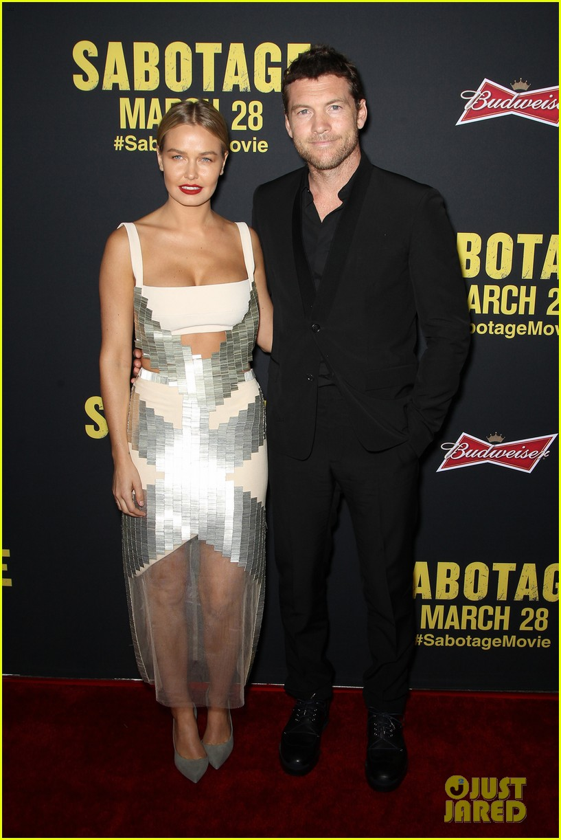 sam worthington lara bingle sabotage premiere 073075155
