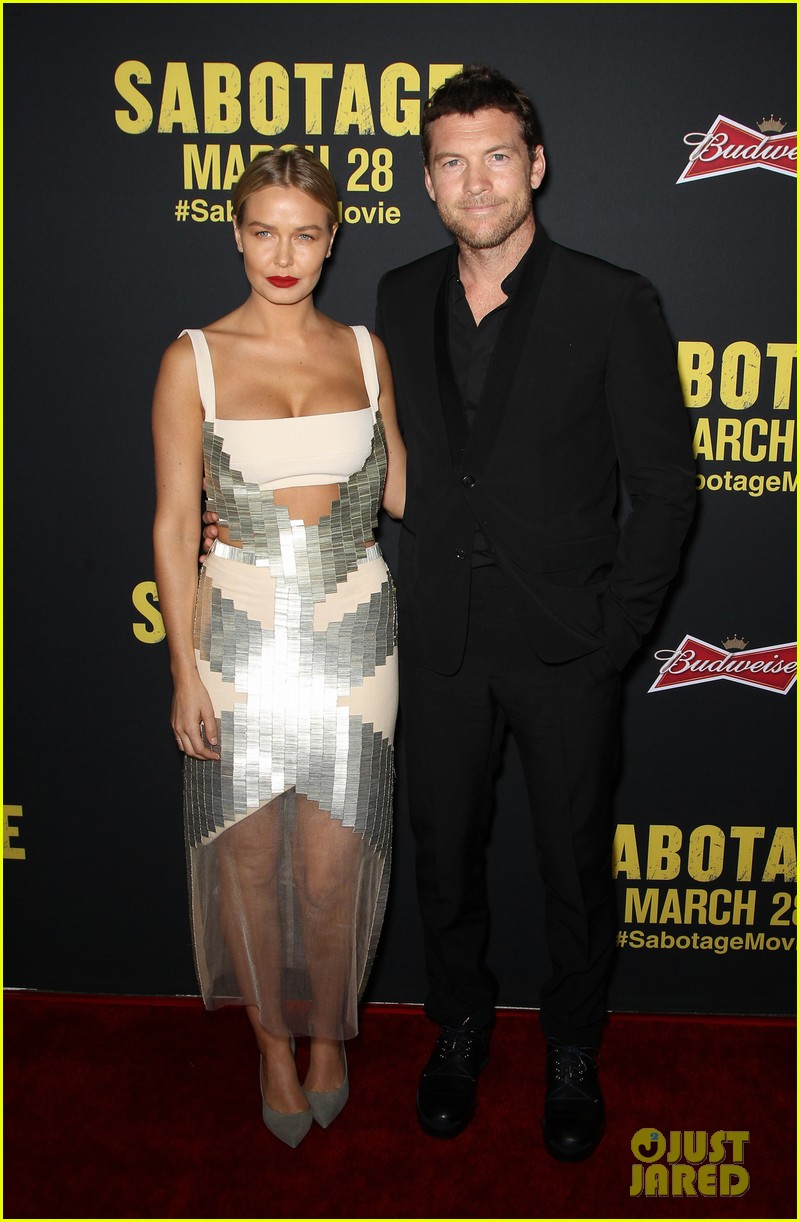 sam worthington lara bingle sabotage premiere 083075156