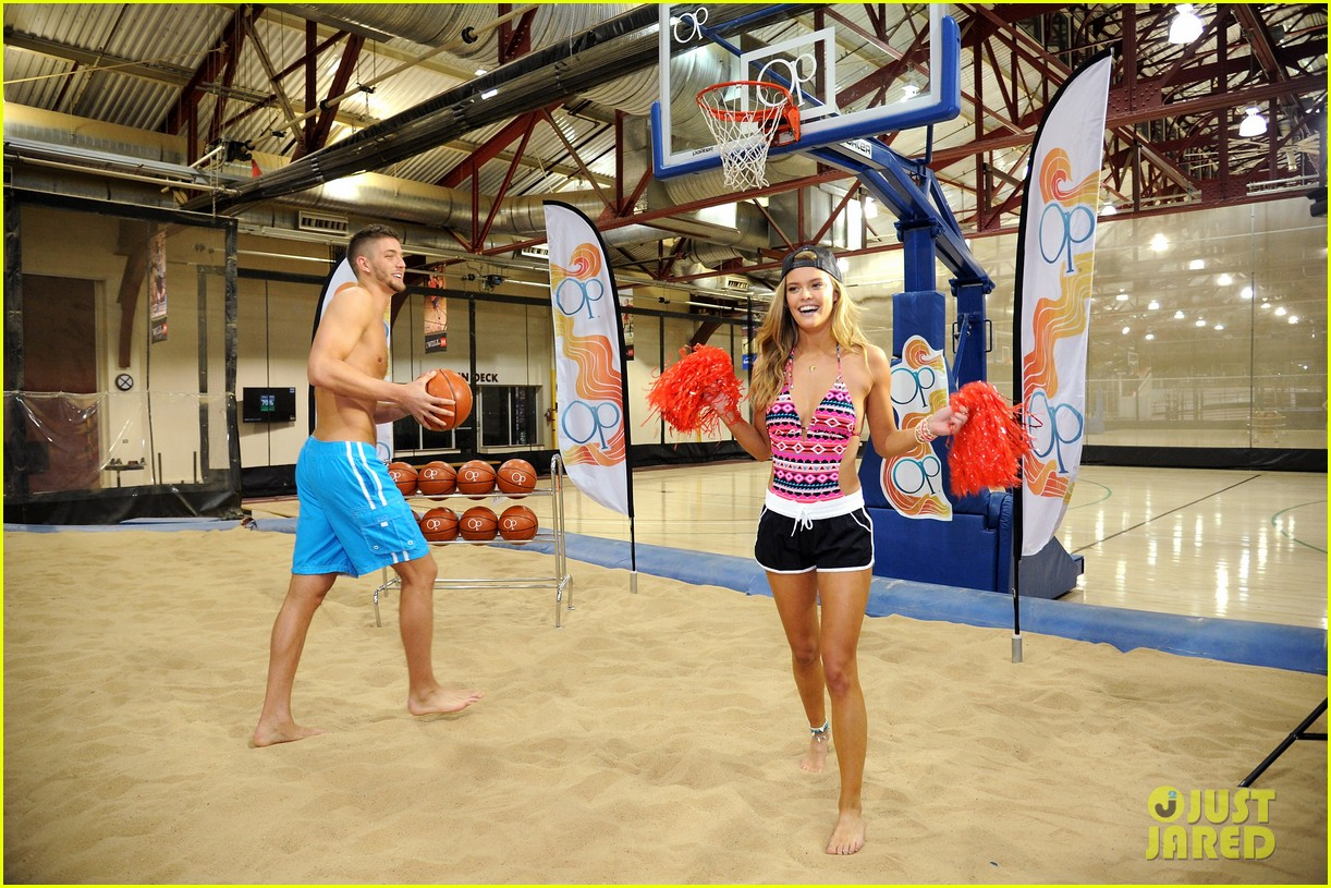 nina agdal shirtless hottie chandler parsons play basketball for ops spring kickoff 11