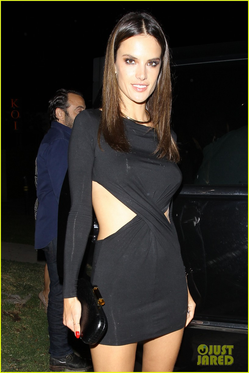 alessandra ambrosio sexy cut out dress 33rd birthday 113088959