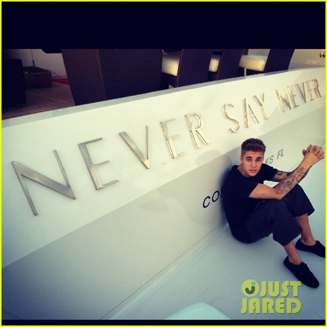 justin bieber poses shirtless on new yacht he reportedly named never say never 023088328