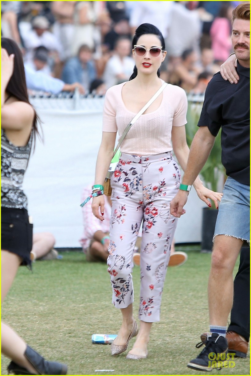 dita von teese wears floral pants at coachella 063095053