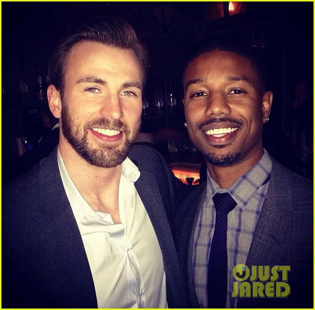 chris evans passes fantastic four torch to michael b jordan 033082882