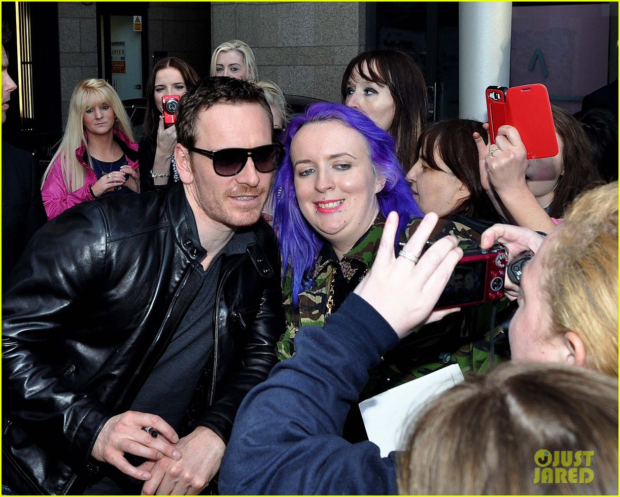 michael fassbender works the red carpet in a leather jacket 173098323