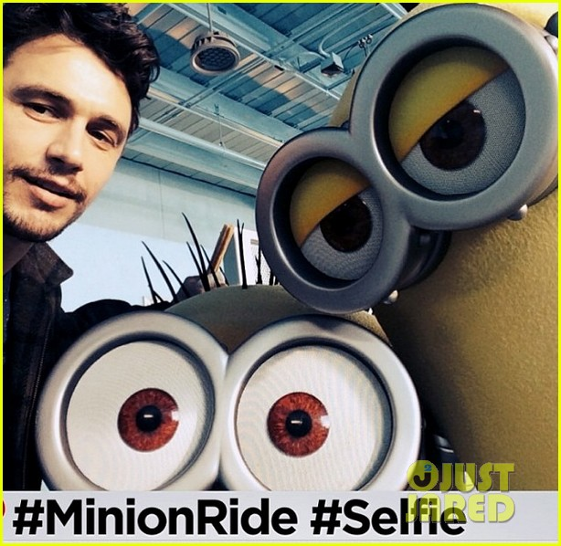 james franco is first in line for despicable me minion mayhem ride 013087634