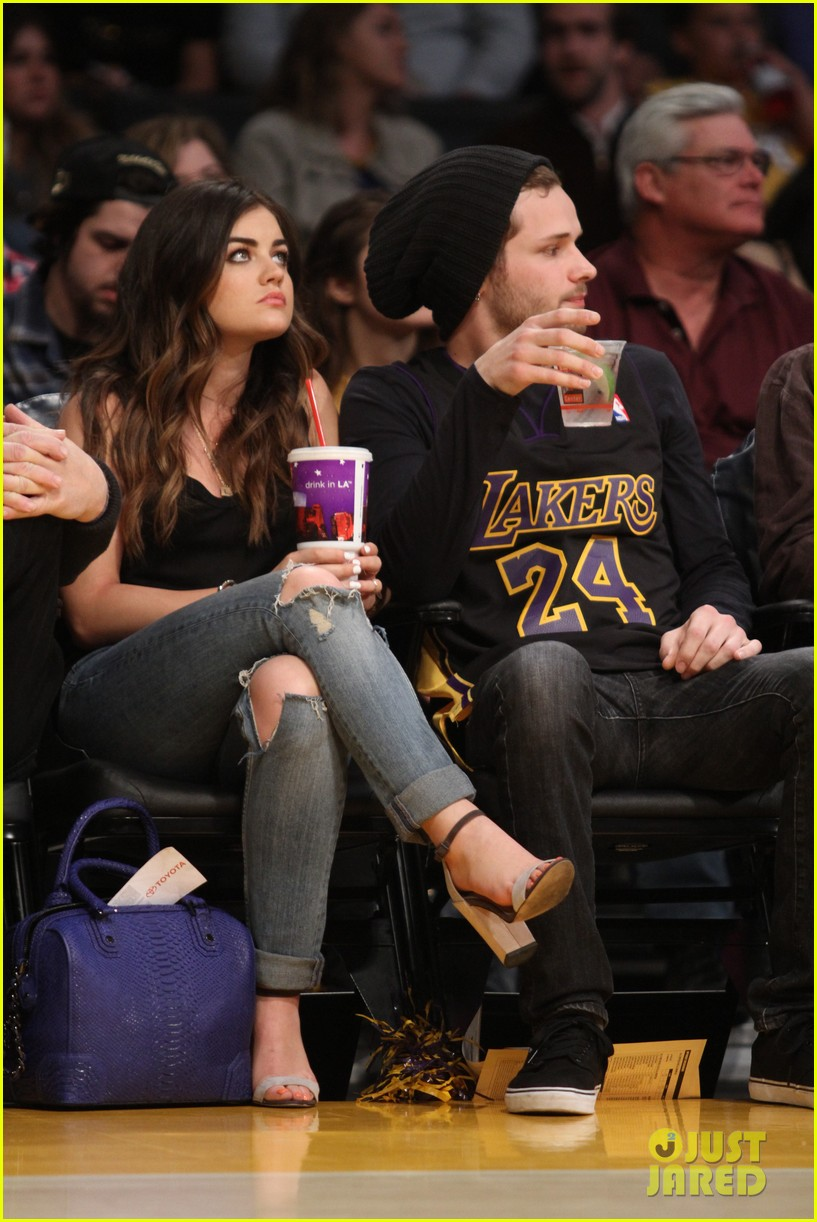 lucy hale lakers game joel crouse 013092131