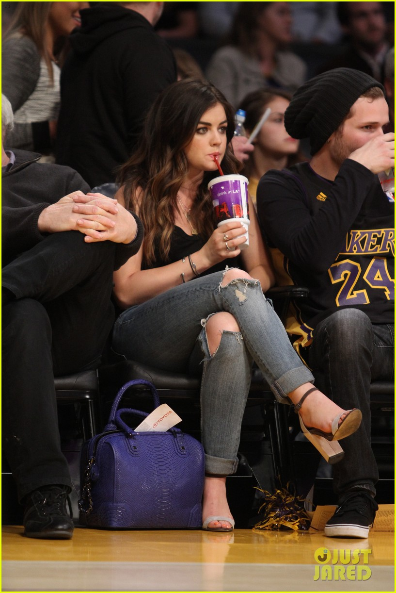 lucy hale lakers game joel crouse 053092135