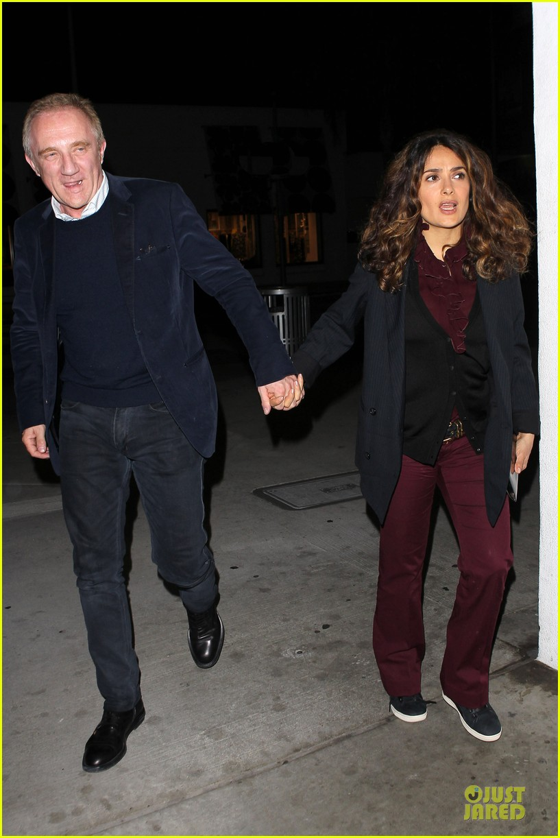salma hayek can still look classy with ankle brace 063094726