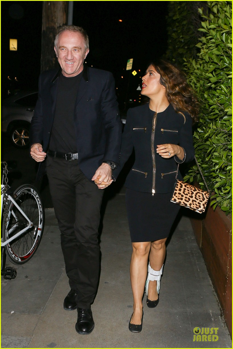 salma hayek can still look classy with ankle brace 223094742