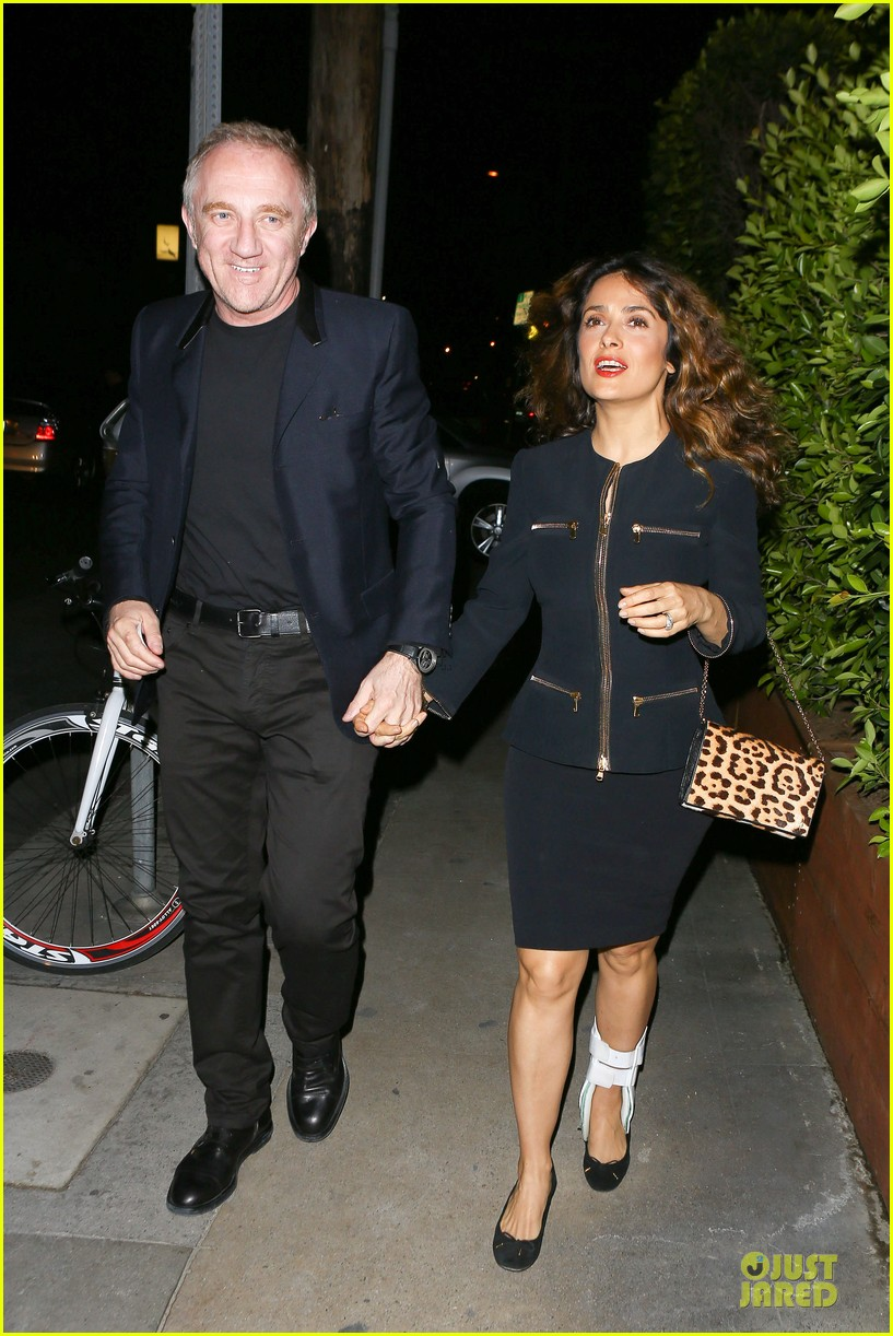salma hayek can still look classy with ankle brace 243094744