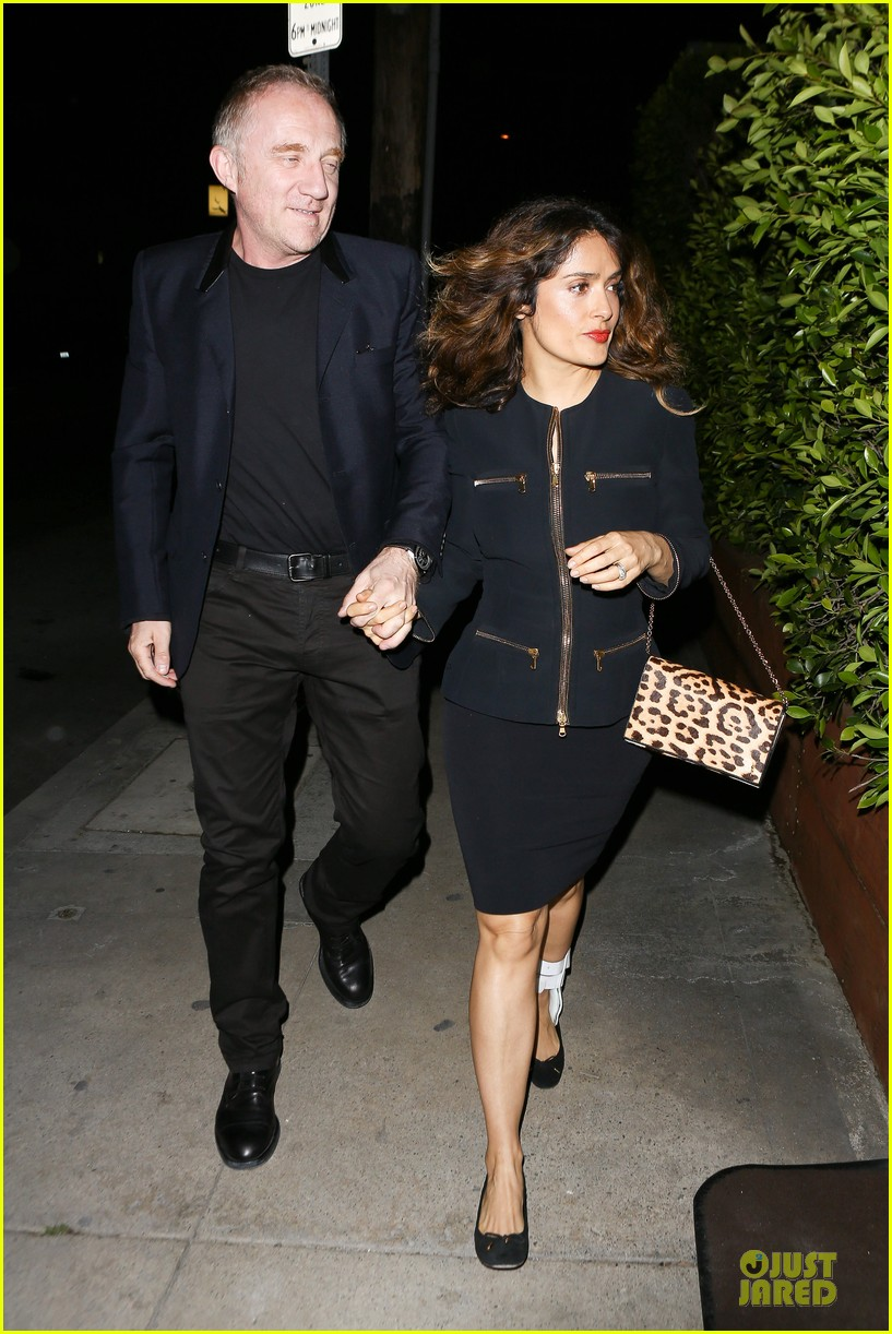 salma hayek can still look classy with ankle brace 273094747