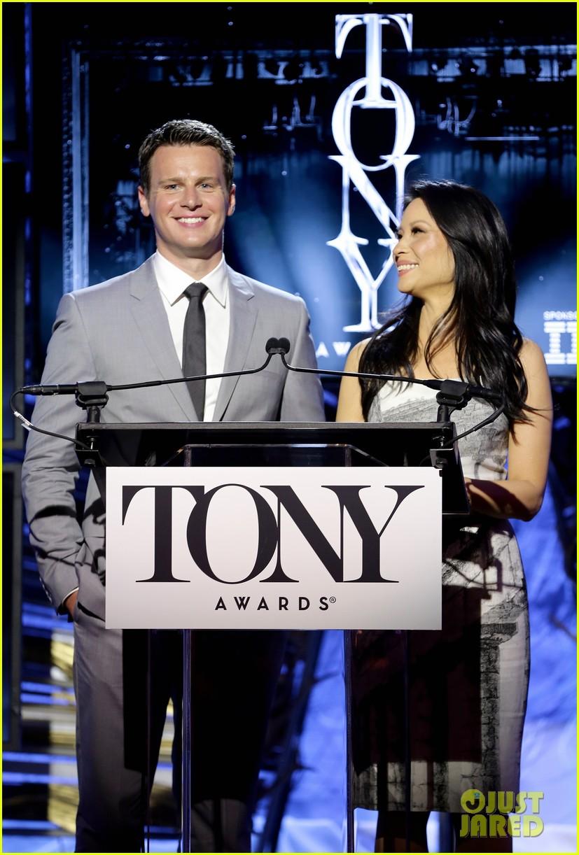 hugh jackman surprises jonathan groff lucy liu at tony awards announcements 01