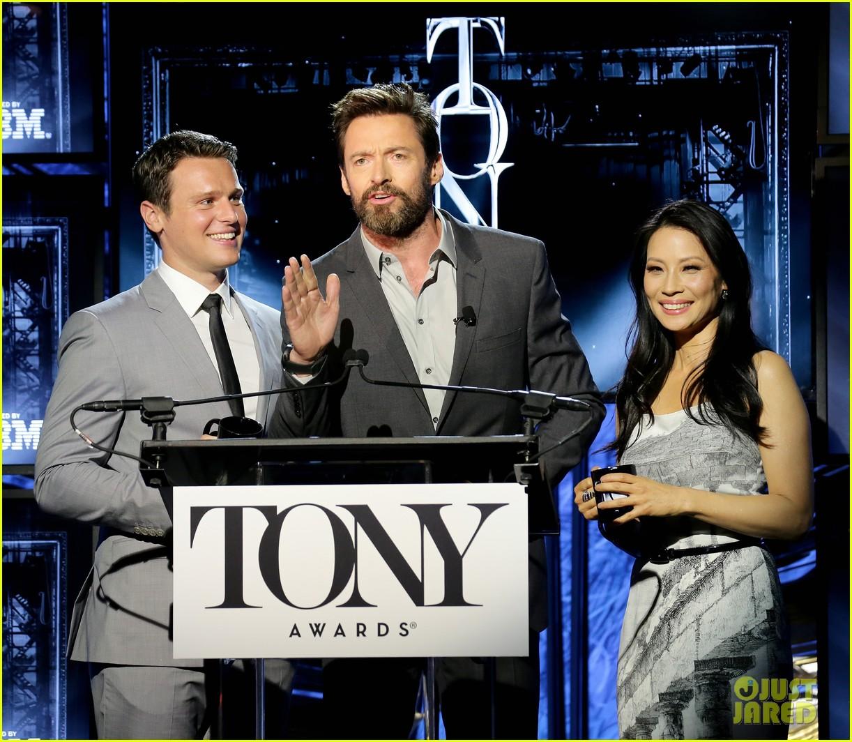 hugh jackman surprises jonathan groff lucy liu at tony awards announcements 093101570