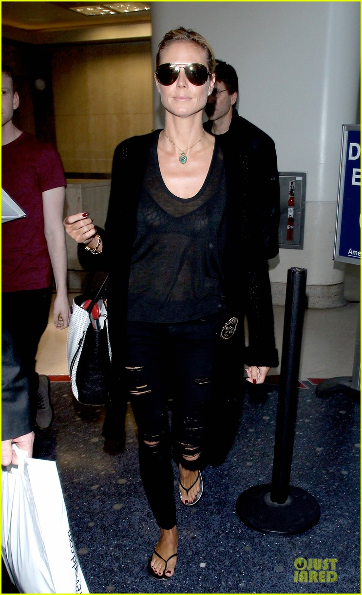 heidi klum sheer top at lax airport 033095201