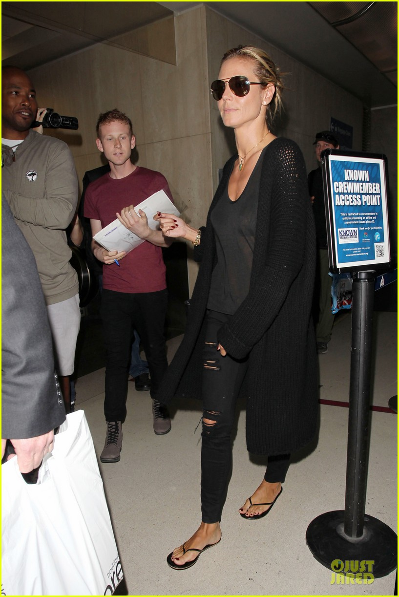 heidi klum sheer top at lax airport 053095203