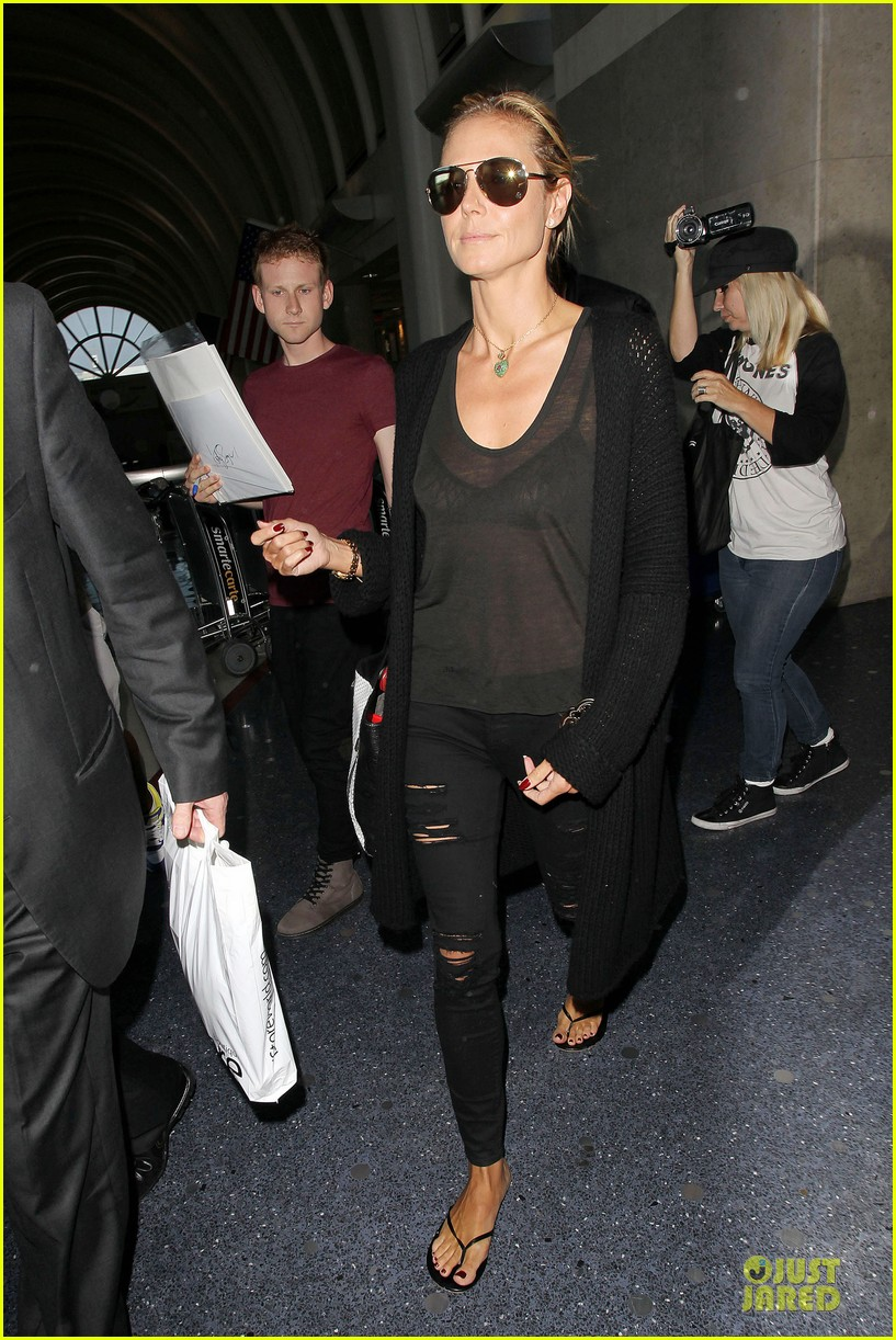 heidi klum sheer top at lax airport 083095206