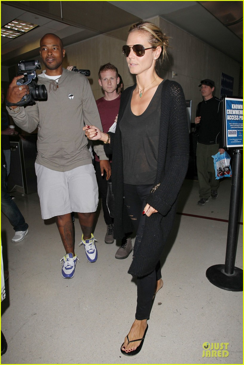 heidi klum sheer top at lax airport 103095208