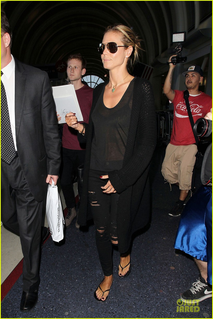 heidi klum sheer top at lax airport 123095210