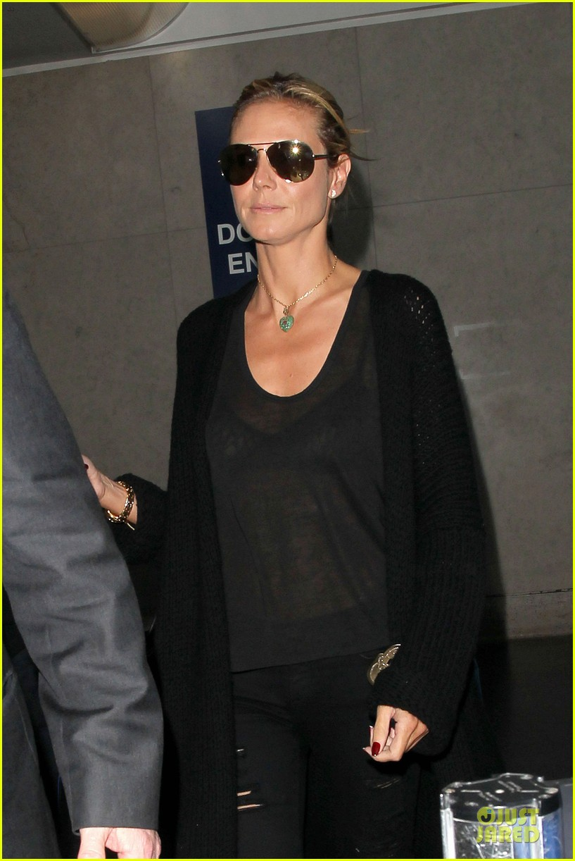 heidi klum sheer top at lax airport 143095212